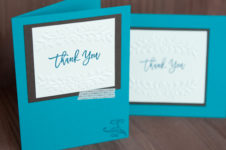 Thoughtful Branches stamp set and Floral Affection Embossing Folder from Stampin' Up! are featured on this Thank You Card. Staci Rivera at Clever Bow Tie Designs. SU
