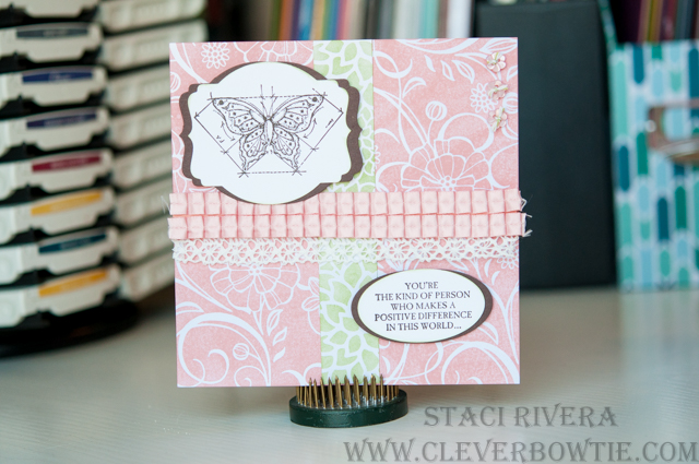 In This World stamp set and Irresistibly Floral DSP are featured in this card for PPA314. Staci Rivera of Clever Bow Tie Designs