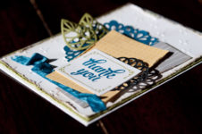 Tin of Cards stamp set and other Stampin' Up! embellishments are featured on this Thank You Card. Staci Rivera at Clever Bow Tie Designs. SU