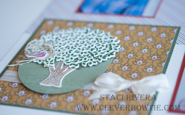 Thoughtful Branches Bundle with Petals and Paisleys DSP are featured on this Back to School Scrapbook layout. Staci Rivera at Clever Bow Tie Designs. Stampin' Up! SU