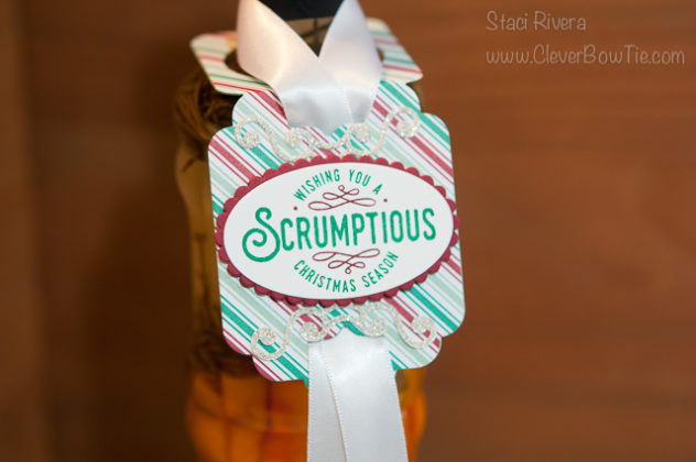 Scrumptious bottle tag. Cheerful Tags Framelits and Here's to Cheers stamp set. Stampin' Up! SU Staci Rivera