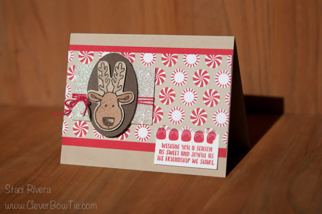Christmas Cookie Reindeer Card. Cookie Cutter Christmas stamp set and punch, Candy Cane Lane suite. Staci Rivera StampinUp