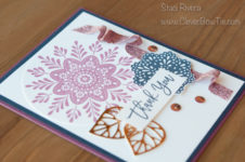Thank you card using Frosted Medallions and Thoughtful Branches stamp sets. Staci Rivera, Stampin' Up!