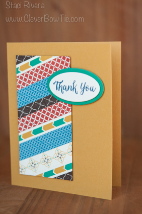 Moroccan Washi, Rose Wonder for a Masculine Thank You Card. Stampin Up SU Staci Rivera
