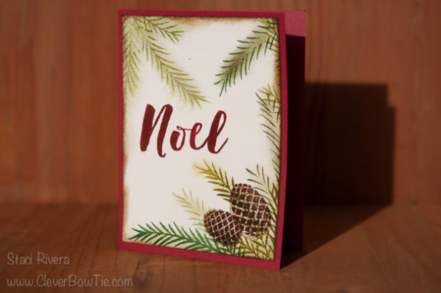 Noel card. Christmas Pines stamp set and watercolor paper. StampinUp SU Staci Rivera