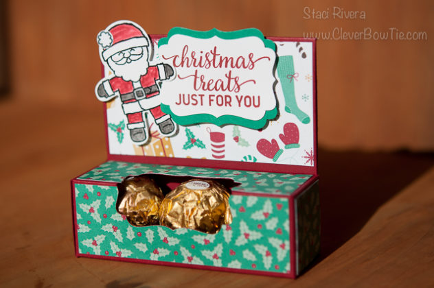 Gift box for Ferrero Rocher candy. Cookie Cutter and Candy Cane Christmas stamp sets. StampinUp SU Staci Rivera