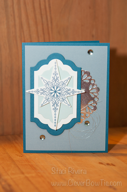 Simple and Elegant Christmas card. Star of Light Stamp set bundled with Starlight Thinlits StampinUp Staci Rivera