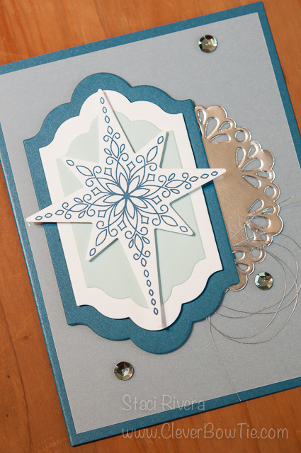Simple and Elegant Christmas card. Star of Light Stamp set bundled with Starlight Thinlits Stampin Up Staci Rivera