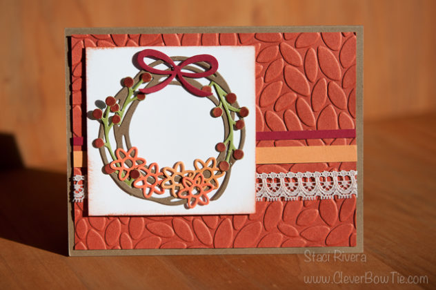 Lovely Fall Wreath made with Swirly Scribbles and Flourish thinlits by Stampin Up. Staci Rivera