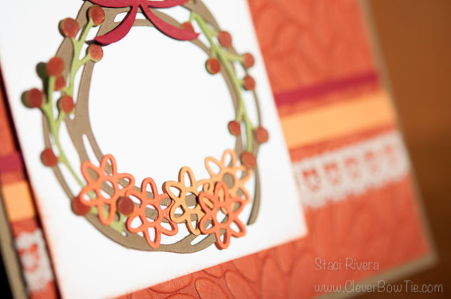 Lovely Fall Wreath made with Swirly Scribbles and Flourish thinlits by StampinUp. Staci Rivera