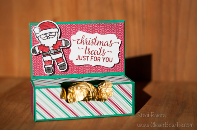 Christmas Candy Treat Box and Tutorial. Cookie Cutter Christmas and Candy Cane Christmas stamp sets. Staci Rivera StampinUp SU