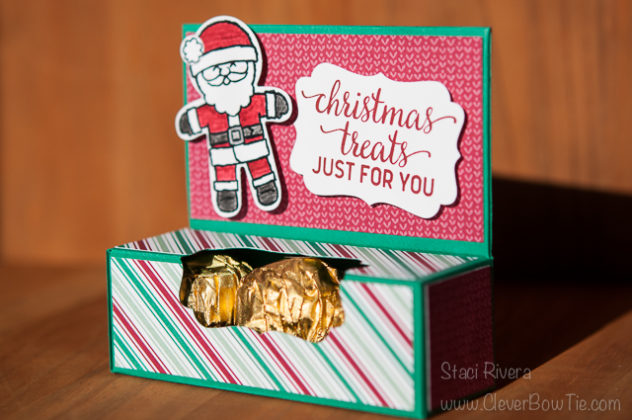 Christmas Candy Treat Box and Tutorial. Cookie Cutter Christmas and Candy Cane Christmas stamp sets. Staci Rivera Stampin Up SU