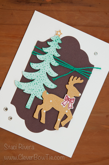 Christmas Card featuring the Santa's Sleigh stamp set and framelits. Staci Rivera Stampin Up SU