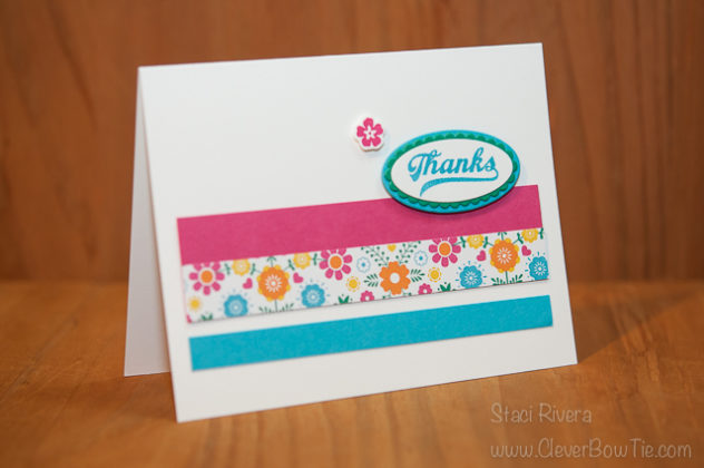 Simple Bright Thank You card. Jars of Love stamp set bundle. Staci Rivera, StampinUp! SU