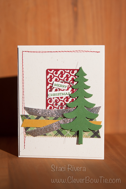 Lovely Christmas Tree Card using the Santa's Sleigh Thinlits. Staci Rivera SU StampinUp