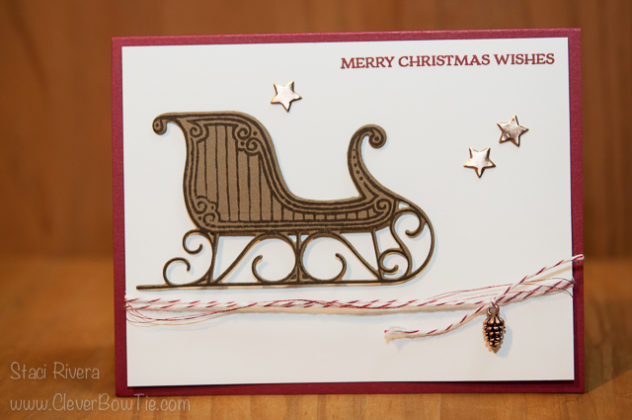 Christmas card featuring the Santa's Sleigh bundle. Staci Rivera Stampin Up SU