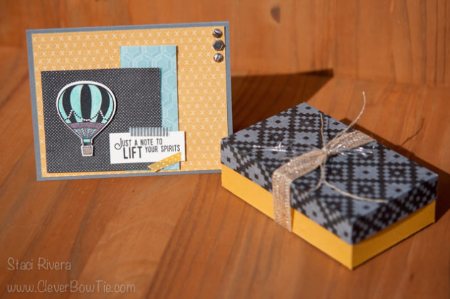 Uplifting card and gift box created with Lift me Up stamp set and Urban Underground paper from Stampin' Up! Staci Rivera SU